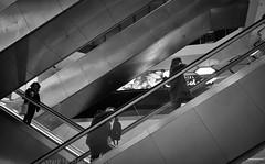Faceless (Nikonsnapper) Tags: leica m10 summicron 35mm london street bw escalator trio people