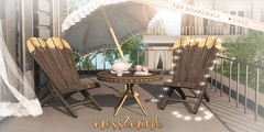 {moss&mink} for Boardwalk (Cielo {moss&mink}) Tags: mossmink moss mink interior decor design sl secondlife virtual outdoor furniture patio set table chair wood gold decorate lounge seat
