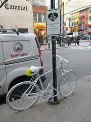 2019 February Ghost bike death on 45th street NYC 4723 (Brechtbug) Tags: ghost bike death 45th street green light pole tribute bicycle accident victim sidewalks flowers stickers note pavement new york city 2019 nyc memorial rip wings art memorials mark sites of victims who were killed in traffic february 02042019 midtown manhattan 72 year old man hitandrun monday morning