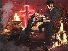 Follow the Morningstar (Gravely Matters) Tags: ginblosom graves chris pohl blutengel priest holy church cross crucifix indoors flame fire hot bible sl secondlife