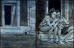 Collector's Edition Drawing for my book. Neighbors sitting on... (Dorian Vallejo) Tags: art fine drawing figure mixed media drawings oil painting dorian vallejo