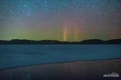 Double Pillars (kevin-palmer) Tags: lakedesmet buffalo wyoming march spring cold clear ice icy water reflection night sky stars starry space astronomy astrophotography aurora auroraborealis northernlights color colorful red green pillars glow north frozen nikond750 nikon50mmf14nikkorafd hills
