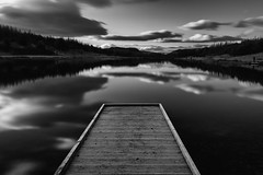 Clouds on water (Marion McM) Tags: monochrome blackandwhite woodenpier pier clouds sky water loch lochledyatt long exposure stillness blur calm trees countryside angus scotland landscape 2019 canoneos760d newyearsday