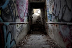 Light At The End Of The Staircase (95wombat) Tags: abandoned decayed rotted ruined industrial wasteland hdr newyork