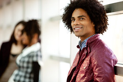 Handsome African American Male (geminitwinblog) Tags: man male african american person natural copy space group friend woman female boy girl student university college hallway visit happy fun portrait smile caucasian casual beautiful school young multicultural relax hang social popular out adult attractive cheerful city fashion friendship happiness leisure lifestyle model people pretty together urban flirt