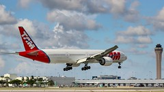 B777-32W(ER) Latam Brasil (TAM Linhas Aéreas livery) PT- MUJ landing on rwy 09 Miami International Airport (KMIA) (andresjpm) Tags: tamlinhasaereaslivery latambrasil latam ptmuj tbt miamiinternacionalairport rwy09 landing kmia b77732wer b777 b77w boeinglovers boeing