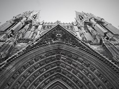 The cathedral of Rouen (roomman) Tags: 2019 france rouen old town medieval church cathedral holy building bw black white blackandwhite bandw grey monochrome contrast entrance gate facade