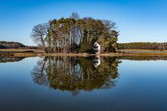 Reflections - Oberlindach - Germany 2568 (Peter Goll thx for +11.000.000 views) Tags: pond sun gegenlicht natur oberlindach sonne weiher rad sky himmel lake 2019 seebachgrund backlight weisendorf bayern deutschland de wood house