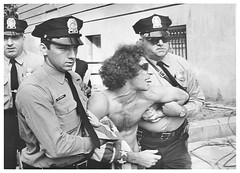 Hoffman arrested for shirt 'mutilating American flag': 1968 (Washington Area Spark) Tags: abbie hoffman american flag mutilating arrest charge house un activities committee huac yippie democratic convention 1968
