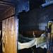 Fire damaged sauna stock photo