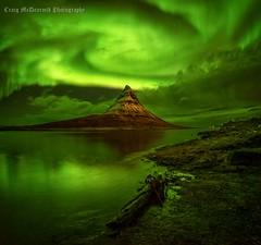 Dragon and the Witches Hat (craigmcdearmid) Tags: aurora kirkjufell grundarfjörður iceland northernlights witch seascape nightsky mountains