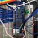 Arduino MKRVidor4000 su breadboard con sonde per l'analisi dei segnali digitali
