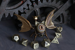 Flying cat robot (Catherinette Rings Steampunk) Tags: fantasy adoptables dungeons dnd sculpture modron cat handmade etsy metal art artisan wirewrapped figurine creatures weird oneeyed cyclopean brass copper dice cana canadian cute