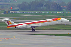 "Iberia McDonnell Douglas MD-87 EC-FFA ""Ciudad de Avila"" ZRH 16-04-05 (Axel J.) Tags: iberia mcdonnelldouglas md87 ecffa ciudaddeavila zrh zuerich zurich kloten luftfahrt fluggesellschaft flughafen flugplatz aircraft aeroplane aviation airline airport airfield 飞机 vliegtuig 飛機 飛行機 비행기 hàngkhông самолет תְעוּפָה авиация avião luchthaven luchtvaart avion aeropuerto aviación aviação aviones jet linienflugzeug vorfeld apron taxiway rollweg runway startbahn landebahn outdoor planespotter planespotting spotter spotting fracht freight cargo"