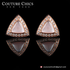 Mother Of Pearl Triangle Shaped Diamond Stud Earrings 14K Rose Gold Fine Jewelry (couturechics.facebook1) Tags: mother of pearl triangle shaped diamond stud earrings 14k rose gold fine jewelry