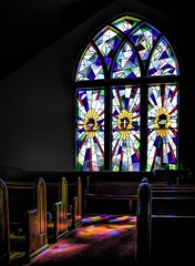 week # 7 , Interior Architecture (lleon1126) Tags: ami annamariaisland florida miscellaneous airplants trevorcarpenterphotographychallenge chapel church stainglasswindow pews