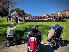 Resist! (kimbar/Thanks for 4.5 million views!) Tags: antiwall antitrump demonstration flag patriotism lakeside park oakland california wheelchairs adamspoint neighborhood neighbors lakesidepark