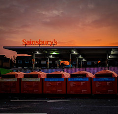 Modern Life # 3 Sun Sets on Sainsbury's (Bobbex) Tags: sunset glow liverpool supermarket evening orange dusk