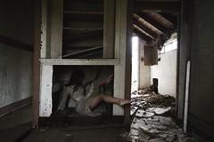 Shelved (SkylerBrown) Tags: dagneyhollmann abandoned abandonedhouse creepy dark dress farmhouse fashion female girl gothic haunting model shadows spooky whitedress woman