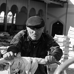 Push (solas53) Tags: man people street market candid uzbekistan uzbek asia silk road worker porter work bw blackwhite blackandwhite monochrome