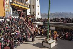 Opening procession (tmeallen) Tags: procession gustorfestival spitukgompa buddhistmonastery ladakhrange flagpole musicians crowds localpeople minitibet gelugpasect monks culture travel yellowhatmonks courtyard