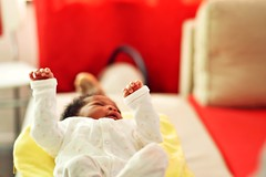 Little hands, little talks. (catarinae) Tags: little hands talks baby newborn portrait girl camerun deutschland germany berlin red sofa white black sleep dream