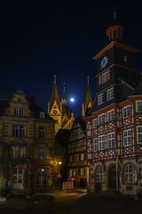 full moon over Heppenheim (tseehaus) Tags: heppenheim supermond vollmond wolfmoon oldcity marketplace halftimberedhouse fachwerkhaus germany
