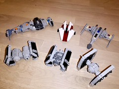 All my build-tested Mini-Scale Fighters for now. (Cpt. Ammogeddon) Tags: star wars tie tiefighter tiebomber advanced b x awing wing xwing bwing vader rebel empire movie fan franchise war battle space ship vehicle craft lego toy model collect scale mini black white red grey build test