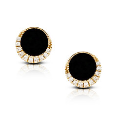14k Yellow Gold Diamonds  Eclipsed With Black Onyx Statement Circular Earring (diamondanddesign) Tags: 14kyellowgolddiamondseclipsedwithblackonyxstatementcircularearring e8488bo doves earrings gatsby 005 ct diamond 14k yellow gold black onyx front