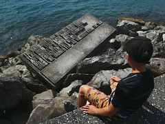 inspiring a young poet (Jerryhattric) Tags: wellington capitalcity northisland newzealand nz panasoniclumixdctz90 panasoniclumixzs70 besttravelcamera poetry denisglover askr bythesea waterfront seashore newzealandpoets