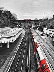TFL (marc.barrot) Tags: shotoniphone transportforlondon tfl tracks station urbanlandscape selectivecolours bus train northernline underground uk n3 london finchley finchleycentral