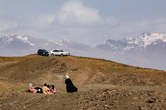 Hilltop Picnic (mopics347) Tags: central asia centralasia picnic noruz nawruz nawroz persian new year newyear persiannewyear cars mountain mountains snow snowcapped muslim hill hills car dirt rocks rock grass