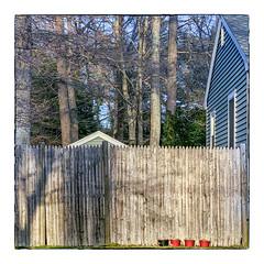 Fence with Four Pots (Timothy Valentine) Tags: 0419 intheneighborhood flowerpot friday 2019 large fence eastbridgewater massachusetts unitedstatesofamerica us