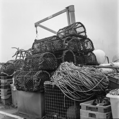 Lobster Nets & Rope (Howie Mudge LRPS BPE1*) Tags: lobsterpots rope aberystwyth harbour ceredigion wales cymru uk travel adventure mamiyac220 tlr twinlensreflex abstract stilllife blackandwhite mono monochrome ilfordhp5 mediumformat 120film analog analogphotography analogcamera film filmisntdead filmphotography filmcamera ishootfilm believeinfilm epsonv800 documentary workinglife
