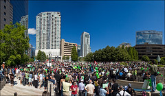 iranelection_protest_mel-lastman_pano_01c_8773418295_o (wvs) Tags: streets people demonstraton protest persian iran iranelection crowd mellastmansquare northyork green toronto ontario canada can