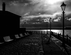 Brandt @ The Albert (stephenbryan825) Tags: albertdock liverpool mersey merseyside rivermersey royalalbertdock backlighting clouds cobbles dramaticlight intothelight lamppost selects silhouette sky water
