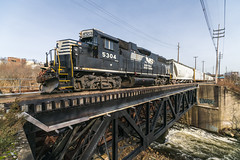 Boonton's Rockaway River Bridge (sullivan1985) Tags: train railroad railway locomotive newjersey northjersey nj morriscounty bridge emd rockawayriver freighttrain freight h02 norfolksouthern ns ns5403 gp382 westbound hobokendivision boontonline boonton harrisburgdivision