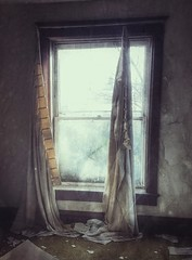 hanging on by a thread....(HWW) (BillsExplorations) Tags: windowwednesday window abandoned abandonedillinois abandonedhouse old forgotten decay ruraldecay shuttered curtains torn hangingbyathread