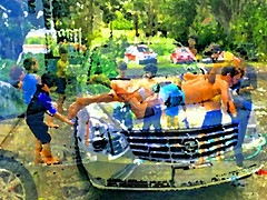 Washing Cars (soniaadammurray - On & Off) Tags: digitalphotography manipulated experimental collage picmonkey abstract wash cars children activities fence driveway help fun together workinghss artchallenge sliderssunday photoshop familyactivities family