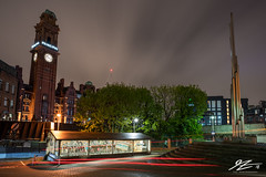 Two Towers (TVZ Photography) Tags: manchester greatermanchester oxfordroad principal sculpture northwestengland building architecture tower lighttrail car streetlight city night evening longexposure lowlight sonya7riii zeiss loxia 21mm