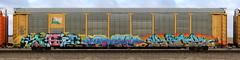 Sag/Cram/Kick (quiet-silence) Tags: graffiti graff freight fr8 train railroad railcar art sag cram kick msk seventhletter ta cbs autorack tfm ttgx995331