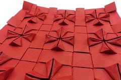 Flagstone Paneling of Cross Pattee Tessellation (side view) (Michał Kosmulski) Tags: origami tessellation paperart paneling panelling boiserie tiling geometry michałkosmulski biotopepaper red