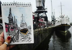 There are something -special- here: (aniuswalker) Tags: bristol bristolian boat harbourside harboursidebristol greyday watercolor urbansketch urbansketching urbansketcher grey river bristolart bristolcranes crane