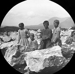 Children on the rocks? (National Library of Ireland on The Commons) Tags: joshuahhargravephotographiccollection joshuahhargrave nationallibraryofireland recess connemara cogalway connemaramarble boys dresses hats countygalway recesscountygalway quarry marble