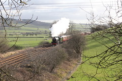 LMS Stanier 6P5F No 45596 'Bahamas' approaches Gargrave Station with 1Z59 WCR KWVR Rail Tour 'Bahamas Railtour 2' on 16th February 2019 © (steamdriver12) Tags: lms stanier 6p5f jubilee no 45596 bahamas 1z59 wcr kwvr rail tour railtour 2 16th february 2019 smoke steam oil coal heritage preservation yorkshire dales winter sunshine landscape west coast railways gargrave