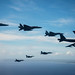 Aircraft from the U.S., Australia and Japan engage in an airpower demonstration formation off the coast of Guam during COPE North 2019