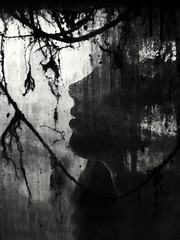 profile and roots (Pomo photos) Tags: abstract girl woman profile portrait dark darkness surreal noir lost decay plant blackandwhite blackwhite bw monochrome mono loop glass epm1 olympus details shadow light noose sepia brown lips head