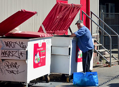 Red handed (Binnie 26) (railfan3) Tags: adelaide binnie dumpsterdiving collectingrecyclables redhanded streetphotography southaustralia