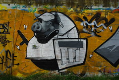 untitled nr. two (nothinginside) Tags: pig pork riot police anti sommossa celerino celere polizia 2019 pescara naiadi beach piscina street pop art wall fence mural murales graffiti uniform