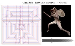 ORIGAMI - WONDER WOMAN CP + PHOTODIAGRAMS :) (Neelesh K) Tags: origami wonder woman dc neeleshk paperfolding tracing paper 48 grids boxpleating